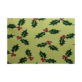 Allover Holly Floral Print Indoor/ Outdoor Rug (2' x 3')
