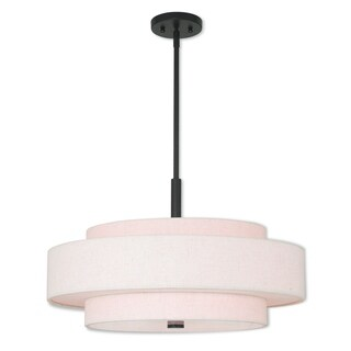 Livex Lighting Meridian English Bronze Steel/Fabric/Linen 5-light Pendant
