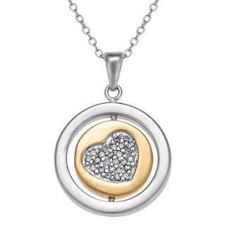 Sterling-silver Two-tone Round Swivel 'Be Loved' With CZ Heart Pendant