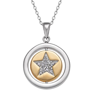 Sterling Silver Two-tone Round Swivel 'Be You' with CZ Star Pendant