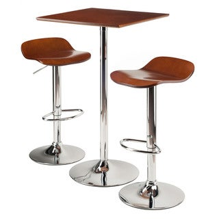 Winsome Kallie Cappuccino 3-piece Pub Table and Bar-height Adjustable Stools Set