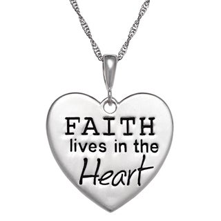Sterling Silver 'Faith Lives in the Heart' Necklace
