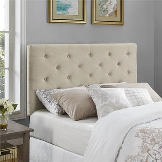 Dorel Living Button Tufted Beige Upholstered Headboard