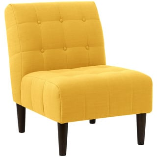 angelo:HOME French Yellow/ Espresso Linen/ Polyester Button-Tufted Accent Chair