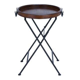 Metal And Wooden Metallic Black Polished Accent Table