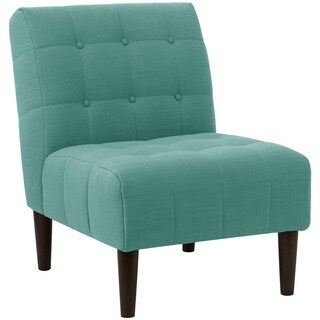 angelo:HOME Blue Linen, Polyester Button Tufted Accent Chair