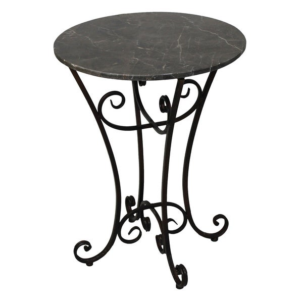 Shop Urban Designs Elizabeth Grey MarbleMetal Round Accent Table - White marble and metal round accent table