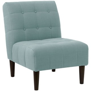 angelo:HOME Espresso/Seaglass Linen/Polyester/Polyurethane/Pine Button-tufted Accent Chair