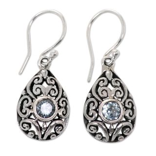 Sterling Silver 'Balinese Scarab' Topaz Earrings (Indonesia)