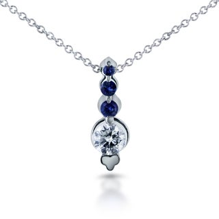 Annello by Kobelli 14k White Gold 1/10ct Sapphire and 1/4ct TDW Diamond Bead Prong Journey Necklace