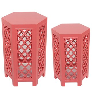 Set Of Two Pink Accent Tables