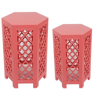 Good Set Of Two Pink Accent Tables