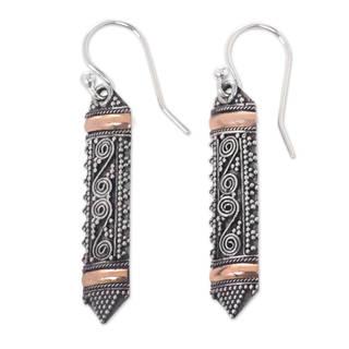 Handmade Gold Overlay 'Dayak Shield' Earrings (Indonesia)