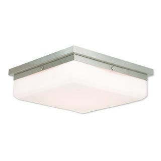 Livex Lighting Allure Brushed Nickel Steel/Frosted Glass 4-light Flush Mount