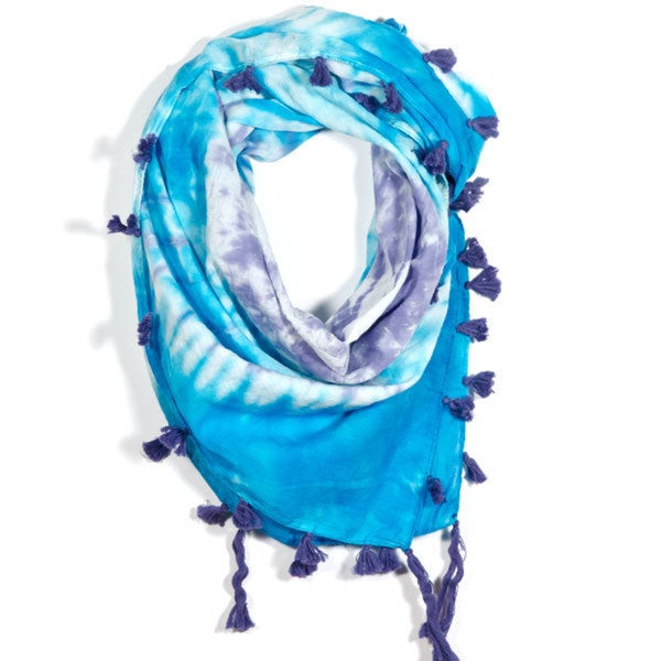 Shibori Tiedye Wave Square Scarf (India)