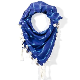 Shibori Marfa Lights in Blue Square Scarf (India)