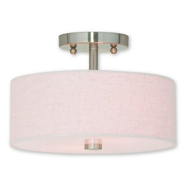 Livex Lighting Meridian Brushed Nickel Semi Flush Mount 2-light Fixture