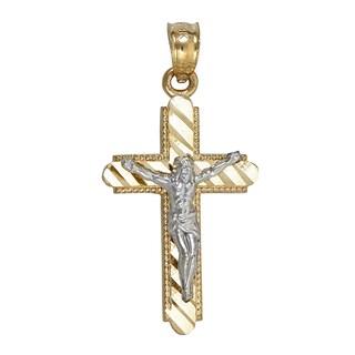 14k Gold Two-tone Jesus Cross Pendant