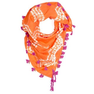 Shibori Orange Square Scarf (India)