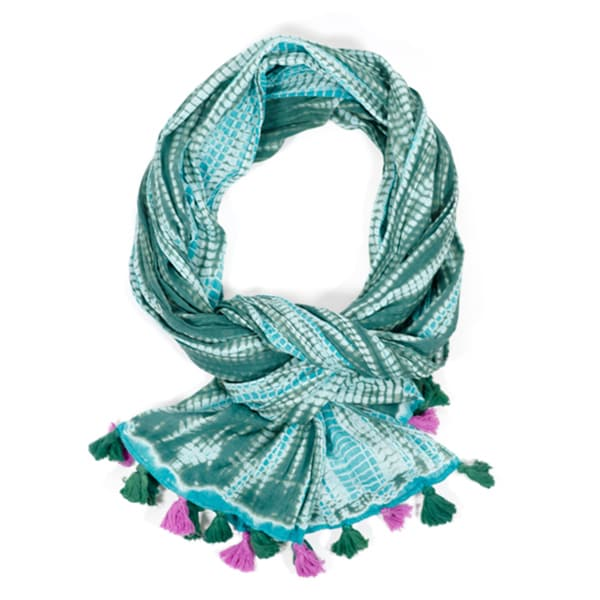 Shibori Triple-Dye Green Mystique Wrinkle Scarf (India)