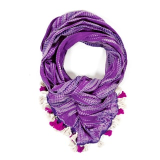 Shibori Purple Triple-Dye Ripple Scarf (India)