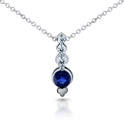 Annello by Kobelli 14k White Gold 1/3ct Sapphire and 1/10ct TDW Diamond Bead Prong Journey Necklace
