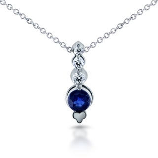 Annello 14k White Gold 1/3ct Sapphire and 1/10ct TDW Diamond Bead Prong Journey Necklace (G-H, I1-I2)