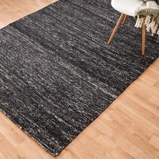 Flat-weave Maddox Black Viscose Rug (5'0 x 7'6)