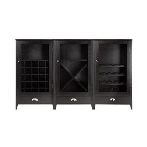 Bordeaux espresso wood 3 piece modular wine cabinet set for Furniture of america gelenan industrial cement like multi storage buffet