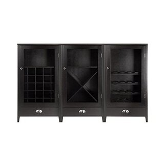 Bordeaux Espresso Wood 3-piece Modular Wine Cabinet Set With Tempered Glass Doors