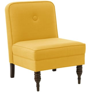 angelo:HOME French Yellow Upholstered Button Accent Chair With Espresso Legs