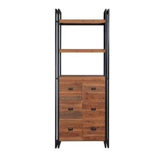 Aurelle Home Industrial Storage Bookcase with Drawers