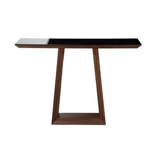 Aurelle Home Walnut & Glass Console Table