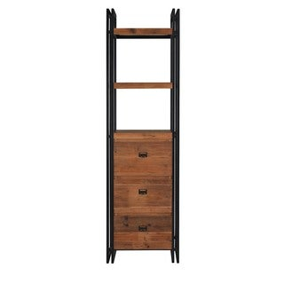 Aurelle Home Industrial Bookcase with Drawers