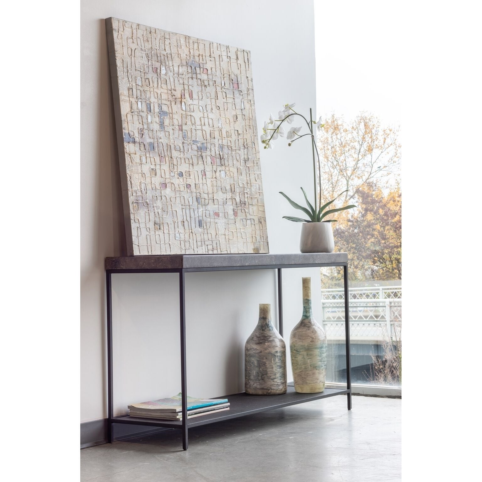 Aurelle Home Marble Console Table (Marble Console Table),...