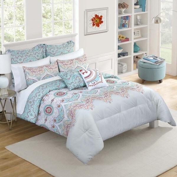 vue cordova blue print reversible 7 piece comforter set free