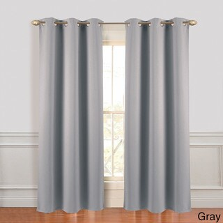 Microfiber Blackout Curtain Grey Panel Pair