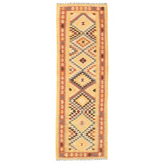 Herat Oriental Afghan Hand-woven Mimana Kilim Gold/ Rust Wool Runner (2'6 x 7'10)