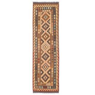 Herat Oriental Afghan Hand-woven Mimana Kilim Ivory/ Blue Wool Runner (2'9 x 9'10)