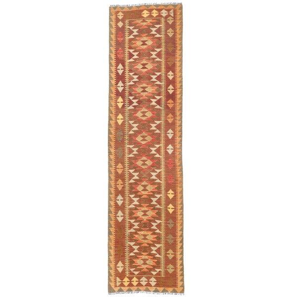 Herat Oriental Afghan Hand-woven Mimana Kilim Wool Runner (2'6 x 9'8) - 2'6 x 9'8