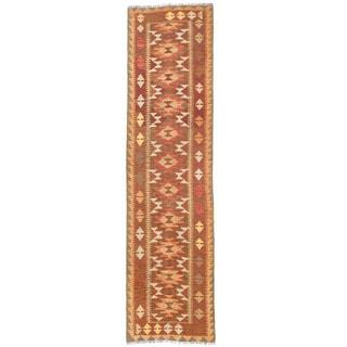 Herat Oriental Afghan Hand-woven Mimana Kilim Wool Runner (2'6 x 9'8)