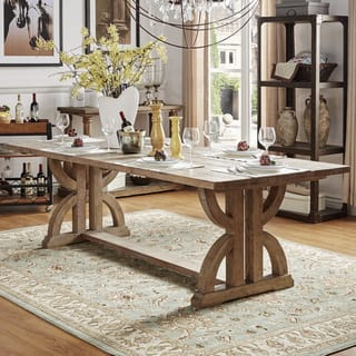 Paloma Salvaged Reclaimed Pine Wood Rectangular Trestle Table by iNSPIRE Q  Artisan. Rustic Dining Room   Kitchen Tables For Less   Overstock com