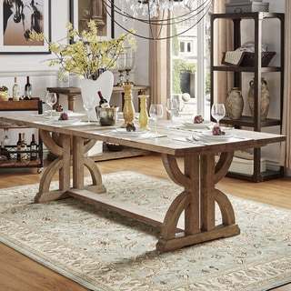 Paloma Salvaged Reclaimed Pine Wood Rectangular Trestle Table by iNSPIRE Q Artisan - Brown