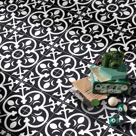 "Handmade Nador in Black Tile, Pack of 12 - 8"" x 8"" (Morocco)"