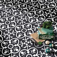 Nador in Black and White Handmade 8x8-in Moroccan Tile(Pack 12)