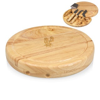 Picnic Time San Antonio Spurs Stainless Steel/Wood 10-inch x 1.5-inch Cheese Board and Tools Set