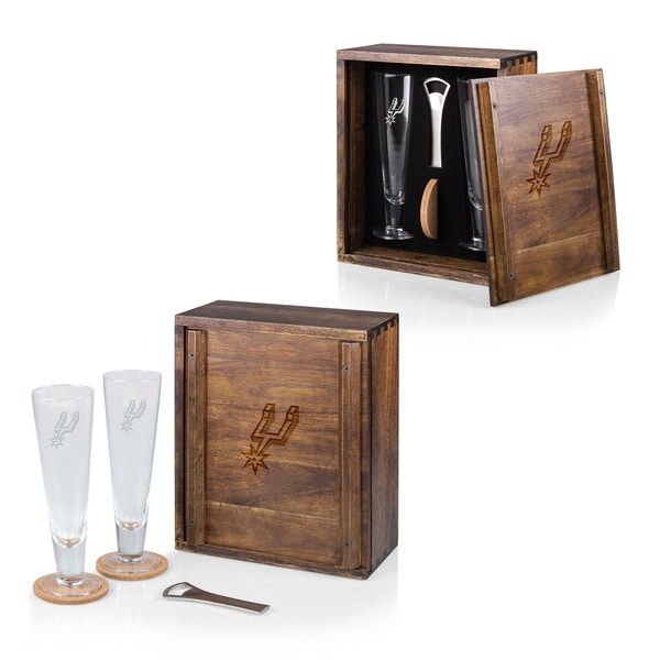 Picnic Time San Antonio Spurs Wood/Glass Pilsner Beer Gift Set for 2