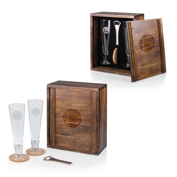 Picnic Time Golden State Warriors Pilsner Glass, Wood Beer Set for 2