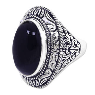 Handcrafted Sterling Silver 'Amed Eclipse' Onyx Ring (Indonesia)