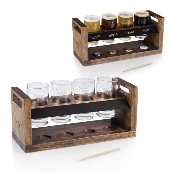 Picnic Time Chicago Bulls Brown Wood, Glass 4 Beer Glasses and Tray